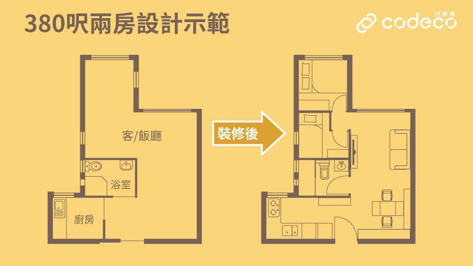 380呎2房平面圖