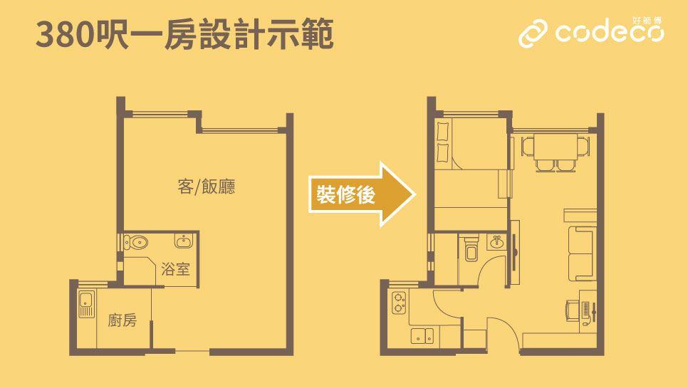 380呎1房平面圖