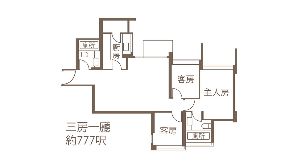 700呎三房一廳荃灣海之戀