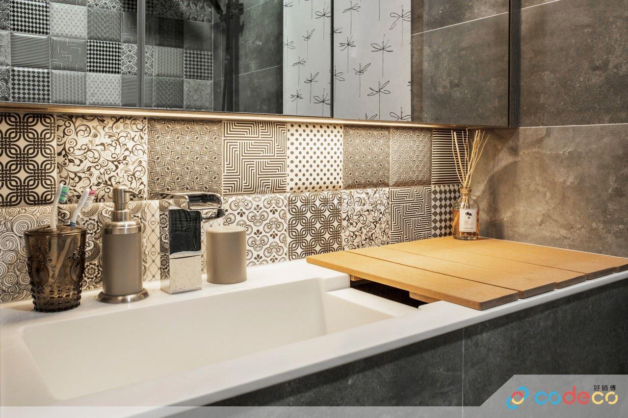 俊逸豪園浴室黑白花磚案例