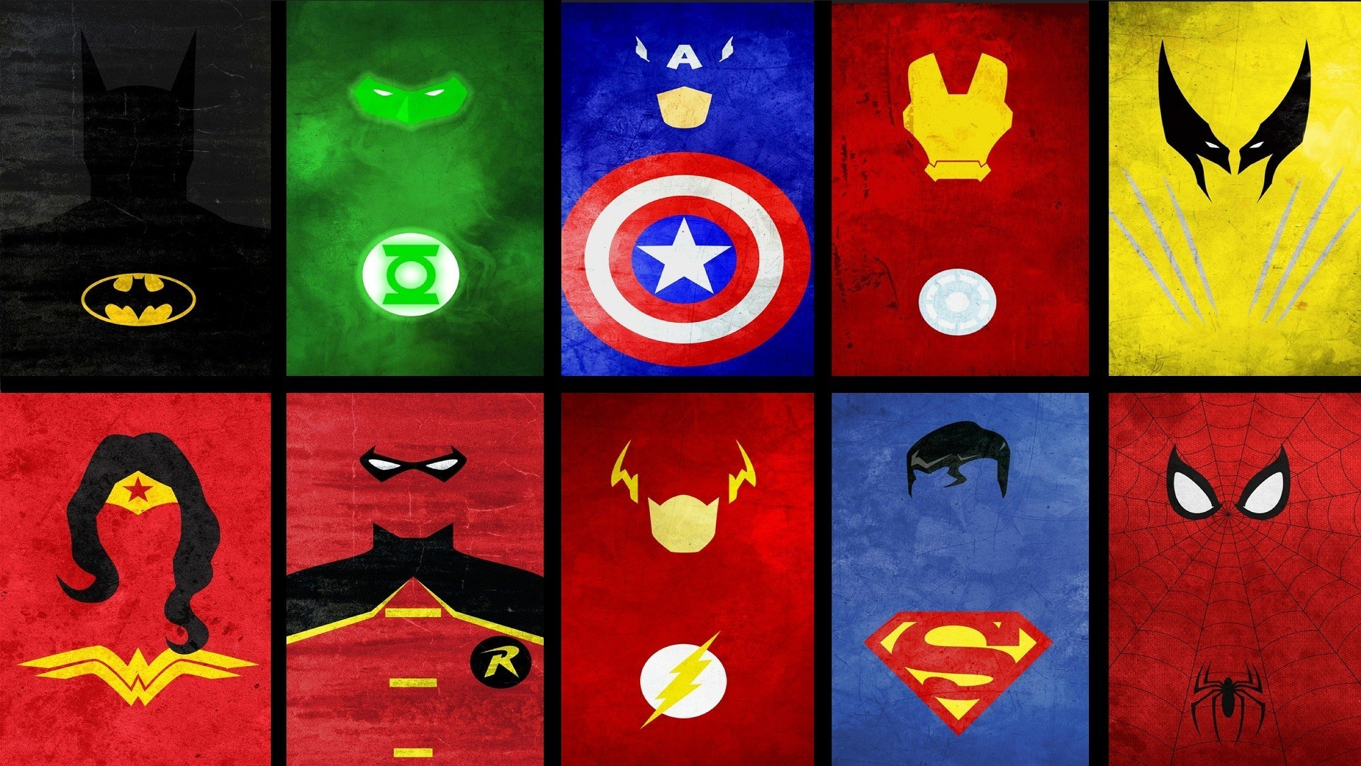 Superheroes collage wallpaper