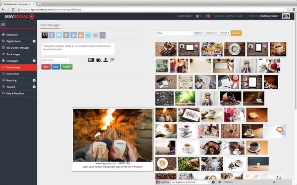 Mavsocial post manager stock image library screenshot